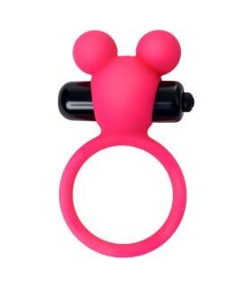 Эрекционное виброкольцо A-Toys в виде мишки, розовое - No Taboo
