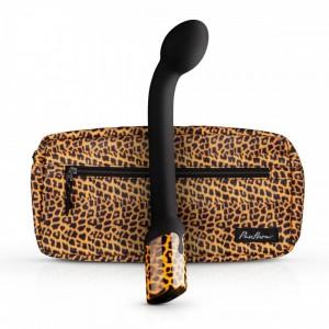 Вибратор для точки G Nila G-spot, черного цвета с леопардовым принтом, 22.5 см х 3.5 см (40166), zoom