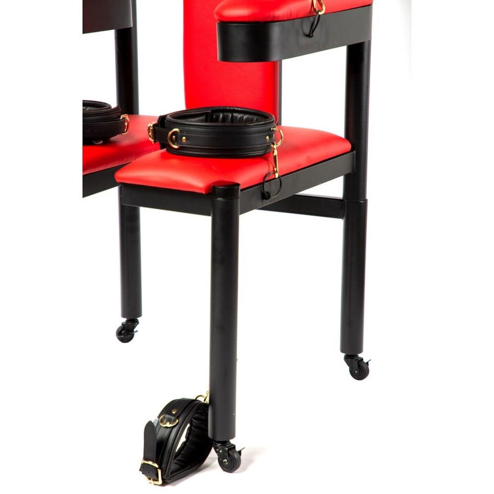 Разборное металлическое кресло БДСМ Roomfun на колесиках, черно-красное (40101), фото 4 — секс шоп Украина, NO TABOO