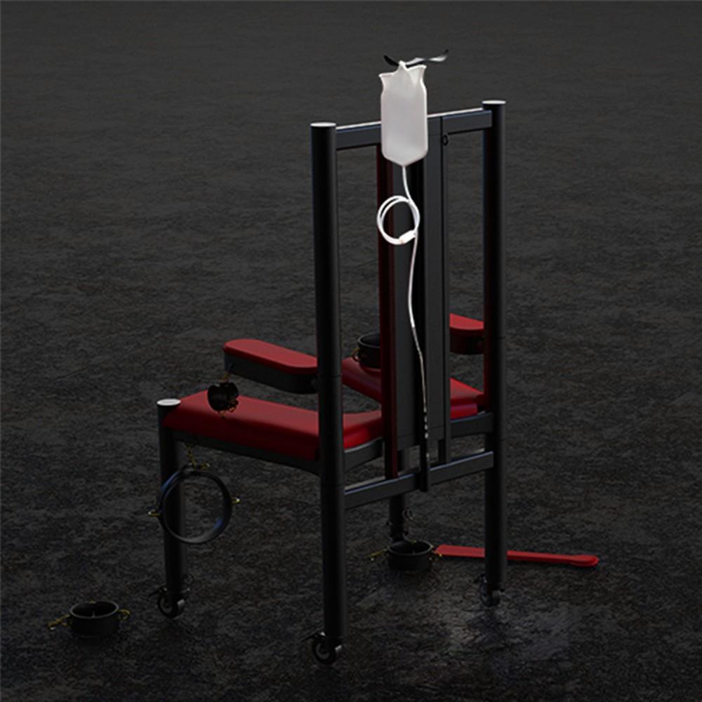 Разборное металлическое кресло БДСМ Roomfun на колесиках, черно-красное (40101), фото 12 — секс шоп Украина, NO TABOO