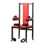 Разборное металлическое кресло БДСМ Roomfun на колесиках, черно-красное