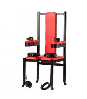 Разборное металлическое кресло БДСМ Roomfun на колесиках, черно-красное - No Taboo