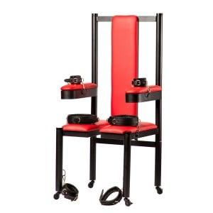 Разборное металлическое кресло БДСМ Roomfun на колесиках, черно-красное (40101), zoom