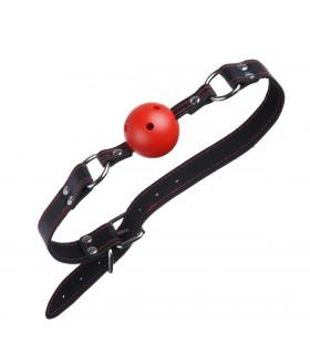 Кляп красный с черным ремнем с красной строчкой - No Taboo