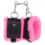 Поножі чорні з екошкіри з яскраво-рожевим хутром, розмір L
