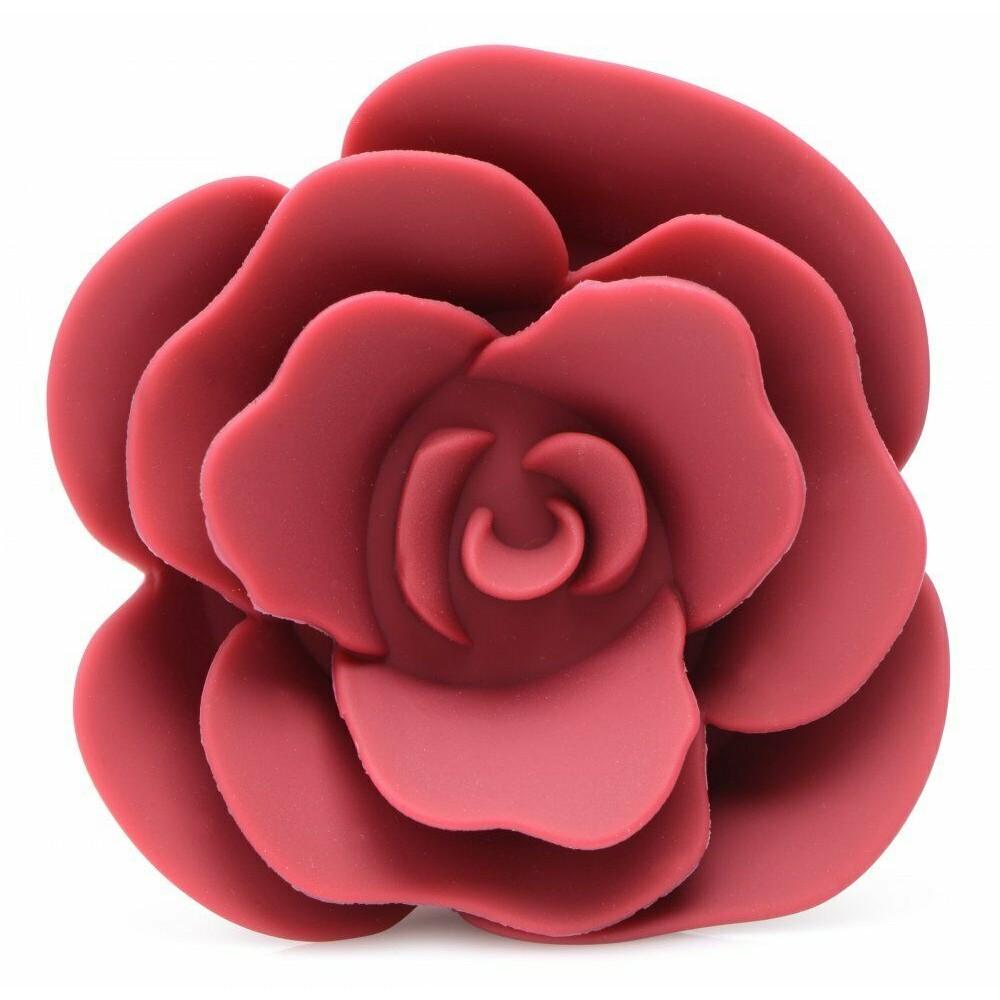 Анальная пробка силиконовая Booty Bloom Anal Plug с розой, красная (41277)