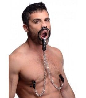 Расширитель для рта с фиксацией в носу и зажимами для сосков - No Taboo