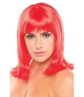 Парик с челкой Doll Wig средней длины, красный - No Taboo