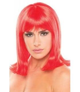 Перука з чубчиком Doll Wig середньої довжини, червоний - No Taboo