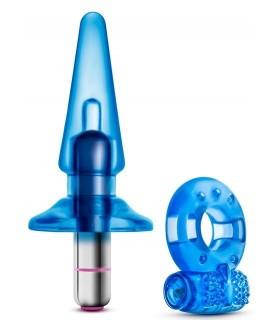 Набор пробка вибропуля эрекционное кольцо с вибропулей, голубые - No Taboo