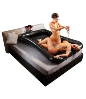 Виниловый надувной матрас для нуру массажа 140 см х 200 см, смазка в комплекте 1000 мл - No Taboo