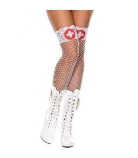 Чулки в сетку с красными крестами и кружевными резинками, O/S - No Taboo