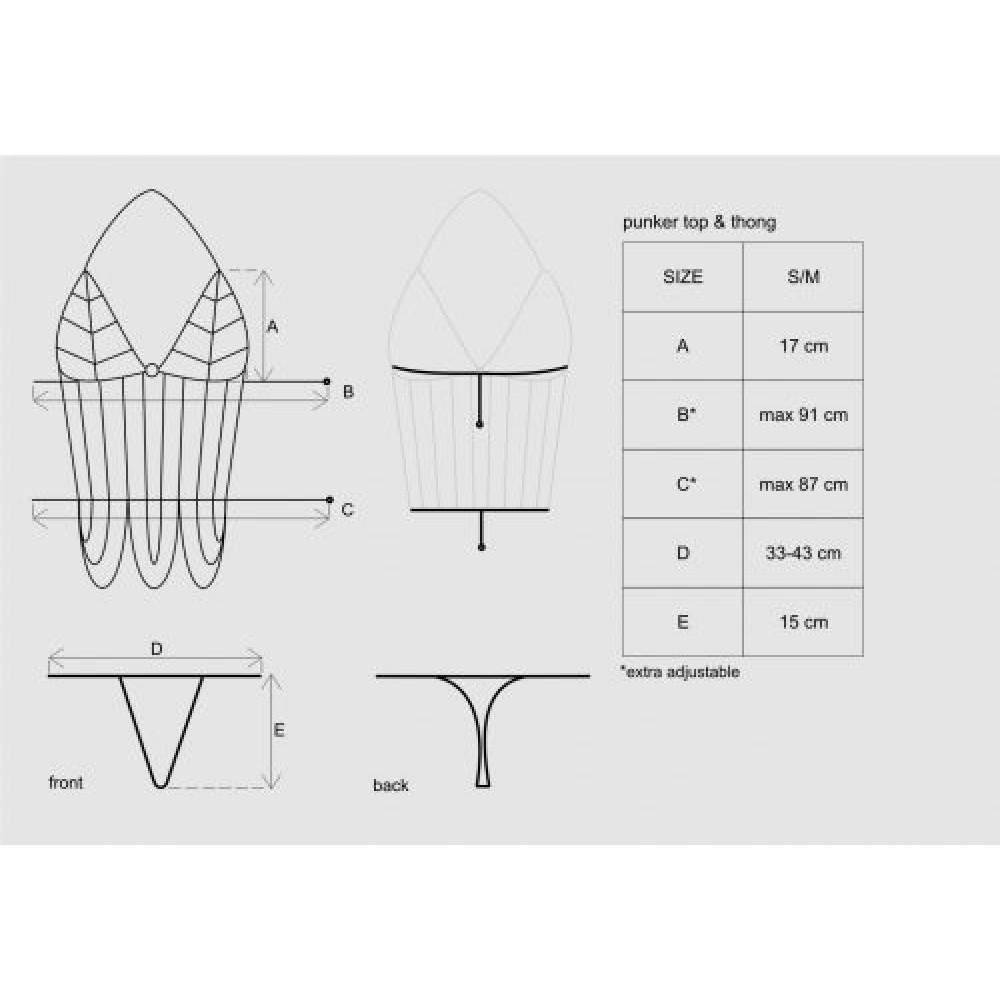 Откровенный комплект Punker Top из цепей, S/M (9623)