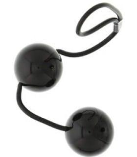 Черные вагинальные шарики на мягкой сцепке Perfect balls - No Taboo