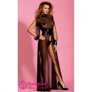 Эротическое длинное черное платье O/S (33584), zoom