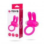 Эрекционное кольцо на пенис с вибрацией Toyfa A-Toys, розовое с ушками