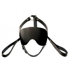 Маска на очі і збруя для голови, чорна, шкіра, ручна робота - No Taboo