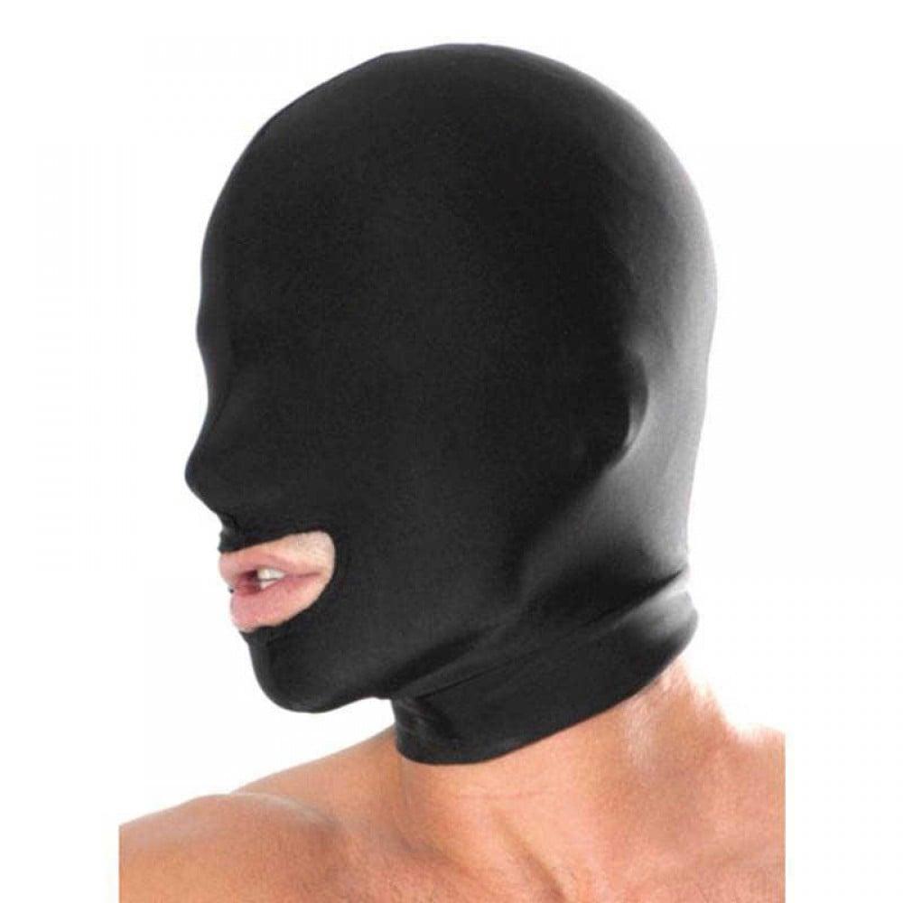 Маска, еластична з отвором для рота, чорна, One Size (7467)