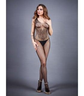 Бодістокінг сексуальний, з інтимним вирізом, в сітку, чорний, One Size - No Taboo