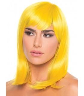 Парик с челкой Doll Wig, средней длины, желтый - No Taboo