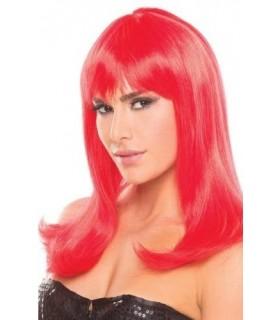 Парик с челкой Hollywood Wig, красный - No Taboo