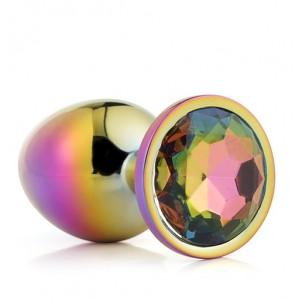 Радужная анальная пробка с разноцветным камнем, 7.1 см х 2.7 см (41712), zoom