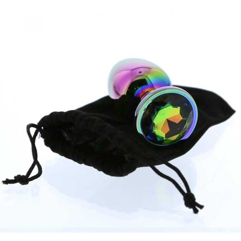 Радужная анальная пробка с разноцветным камнем, 7.1 см х 2.7 см (41712)