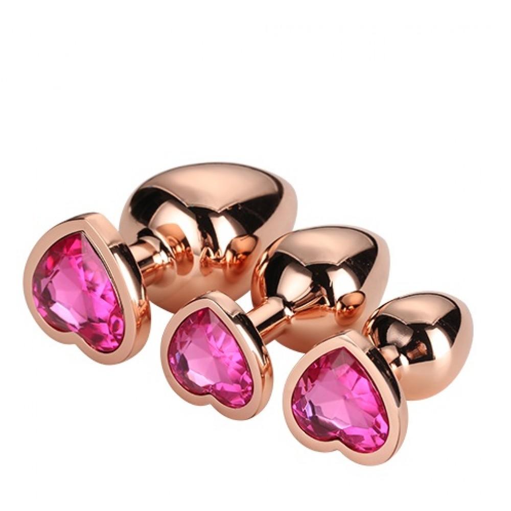 Набор анальных пробок золотистых, с розовым камнем в форме сердца (41708)