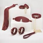 Набор БДСМ из экокожи, 6 предметов, бордовый