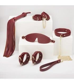 Набор БДСМ из экокожи, 6 предметов, бордовый - No Taboo