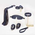 Набір БДСМ з екошкіри, 6 предметів, темно-синій