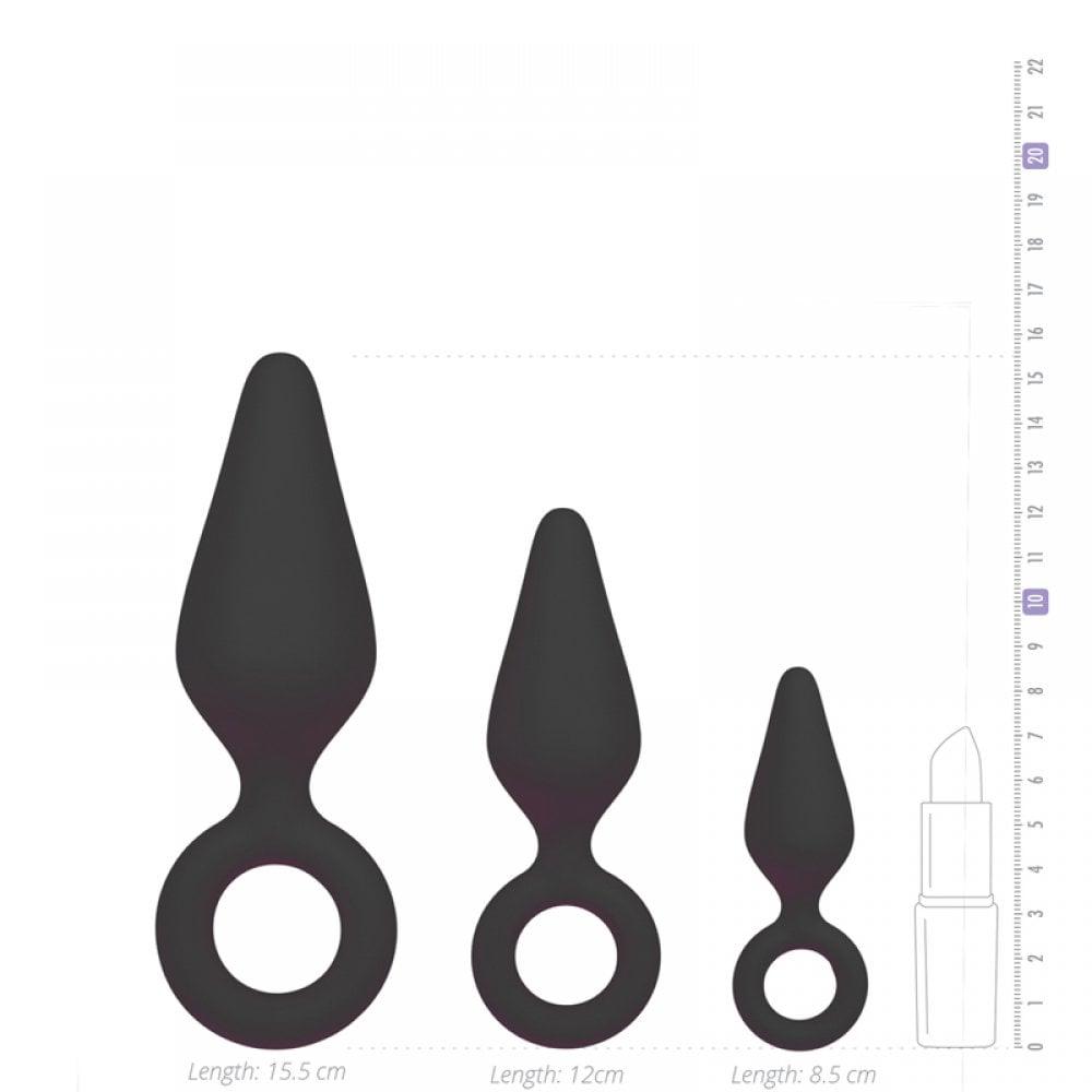 Набор анальных пробок разных размеров c кольцом, черного цвета (38556), фото 3