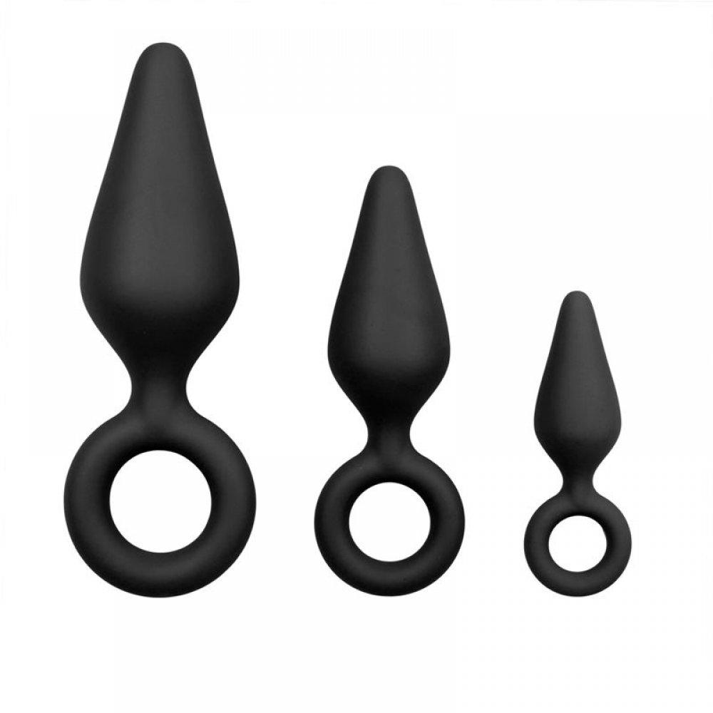 Набор анальных пробок разных размеров c кольцом, черного цвета (38556), фото 1