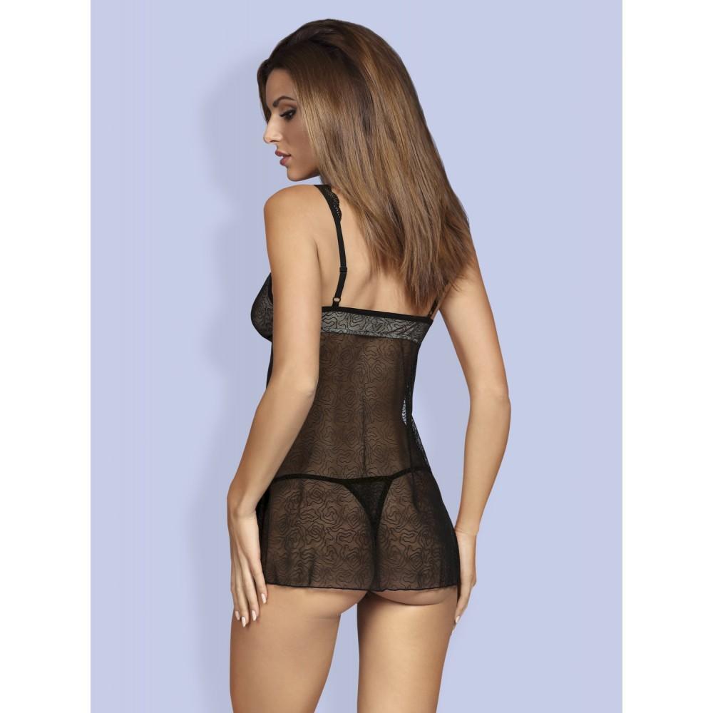 Эротичная полупрозрачная кружевная сорочка S/M, черная - No Taboo