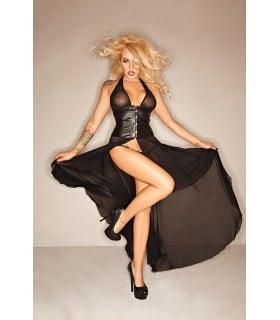Платье с корсетом из винила и тюли Noir Handmade M, черное - No Taboo