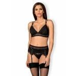 Сексуальный кружевной комплект с поясом на шнуровке L/XL, черный