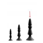 Анальна пробка з присоскою чорного кольору, розмір L