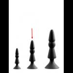 Анальна пробка з присоскою чорного кольору, розмір М