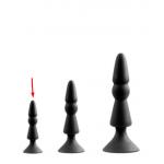 Анальная пробка с присоской черного цвета, размер S