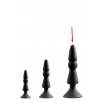 Анальная пробка с присоской черного цвета, размер L