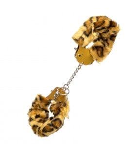 Наручники с золотым металлом и леопардовым мехом
