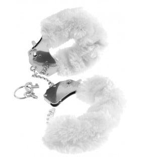 Наручники метал серый на тонкой цепочке мех белый
