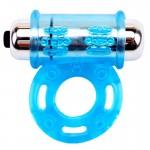 Голубое эрекционное кольцо с вибропулей GET LOCK