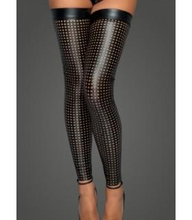 Чулки виниловые с перфорацией, открытый носок, Noir Handmade, размер M - No Taboo