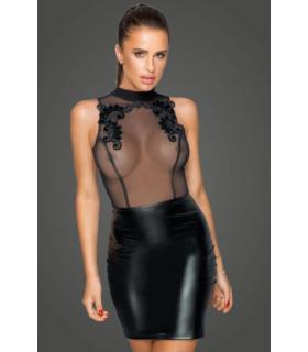 Платье с полупрозрачным верхом и вышивкой, Noir Handmade, черные, размер L - No Taboo