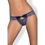 Сексуальные трусики с цветочным кружевом синие, размер L/XL