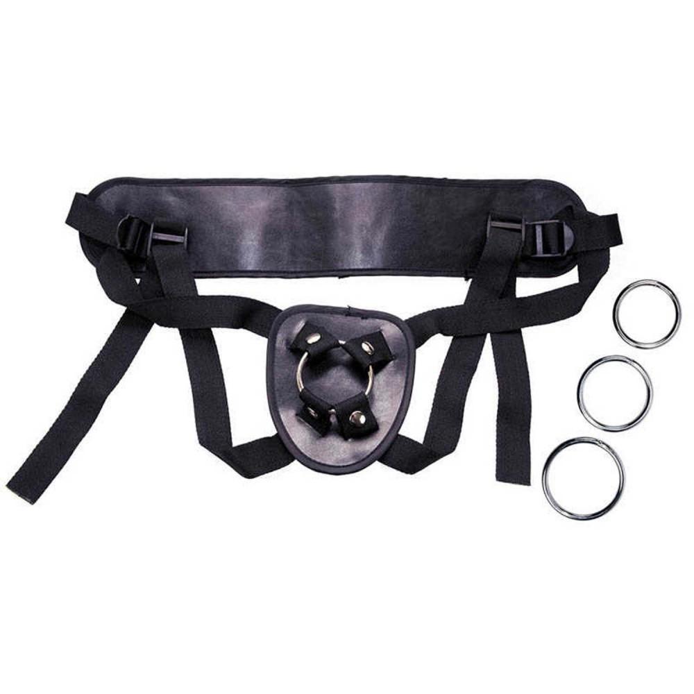 Трусики для страпона с тремя металлическими кольцами PU Leather strap (36282), фото 4 — секс шоп Украина, NO TABOO