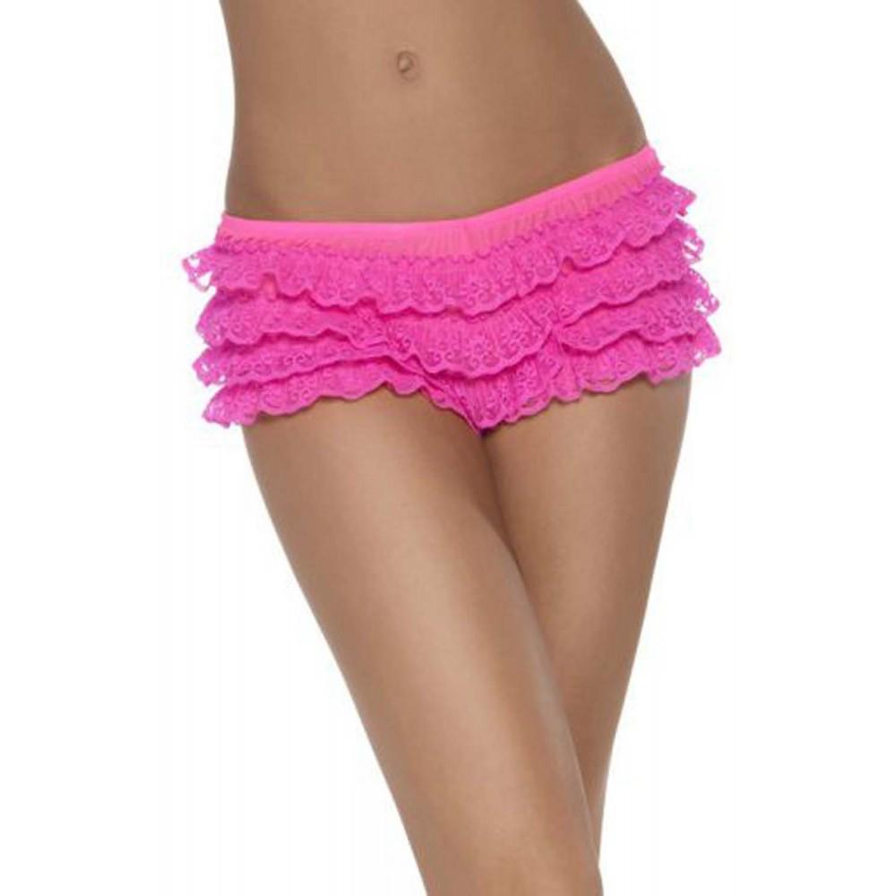 Сексуальные трусики розовые с кружевами в виде юбочки, OS (20535), фото 1