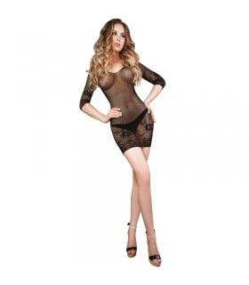 Платье полупрозрачное в сетку черное c узором S/L - No Taboo