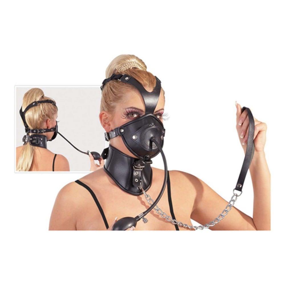 Leather Head Mask-Маска з кляпом і нашийником (2611)